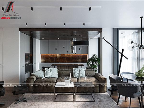 Thiết kế phòng khách liền bếp phổ biến trong các căn hộ 80m2
