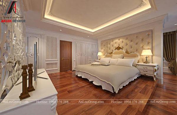Không gian phòng ngủ rộng rãi kết hợp cùng nội thất cao cấp