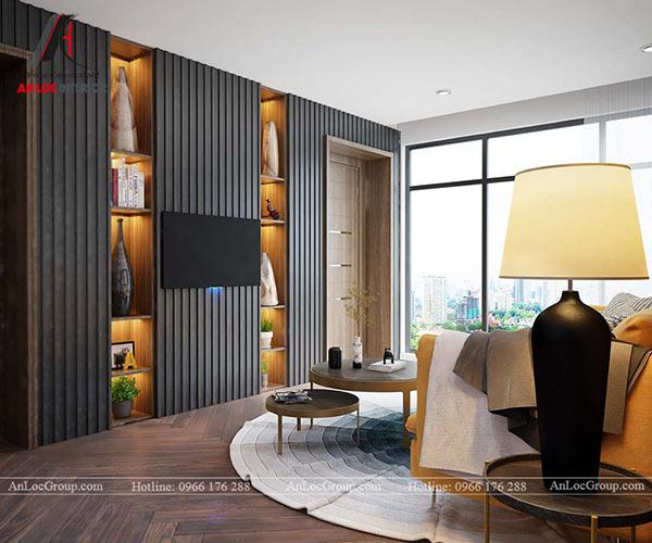 Phòng khách căn hộ nổi bật với ghế sofa màu vàng