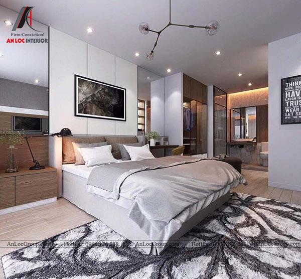Nội thất phòng ngủ master chung cư 80m2 tại Mỹ Đình Pearl