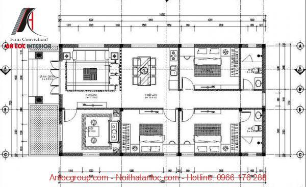 Bản vẽ nhà ống 3 phòng ngủ mái thái màu đỏ