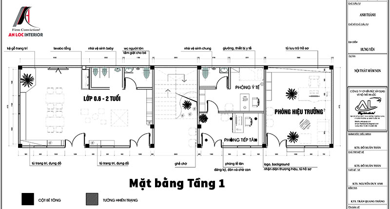 Bản vẽ mặt bằng tầng 1 trường mầm non Hưng Yên