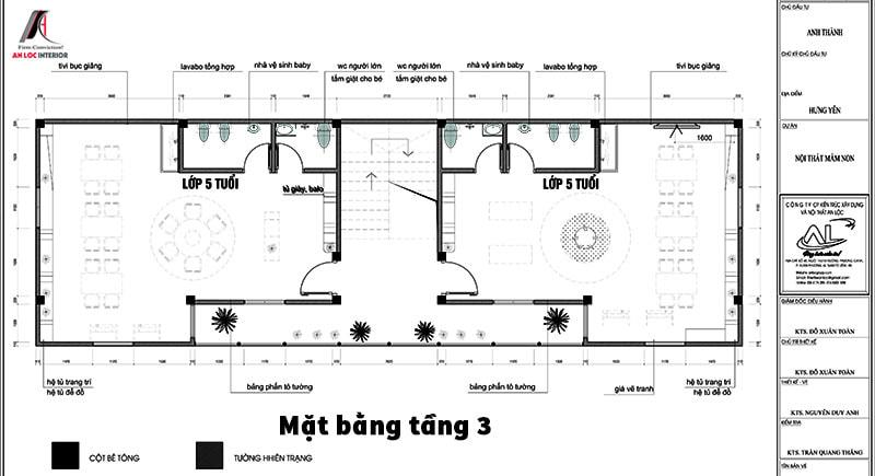 Bản vẽ mặt bằng tầng 3 trường mầm non Hưng Yên