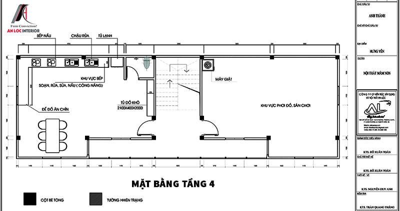 Bản vẽ mặt bằng tầng 4 trường mầm non Hưng Yên
