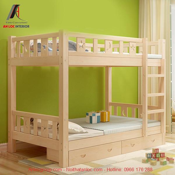 Mẫu 26 - Giường tầng gỗ người lớn 1m6 đẹp, đơn giản