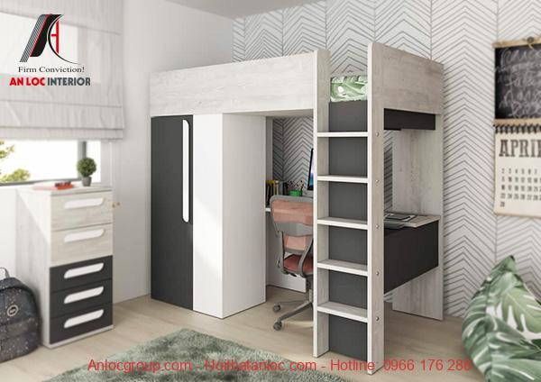 Mẫu 20 - Giường tầng kết hợp tủ quần áo và bàn làm việc