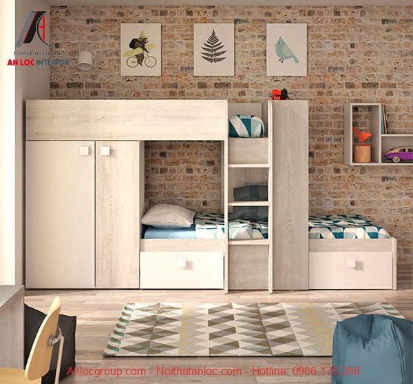 Mẫu 21 - Giường 2 tầng người lớn từ gỗ có tủ quần áo được tích hợp khéo léo