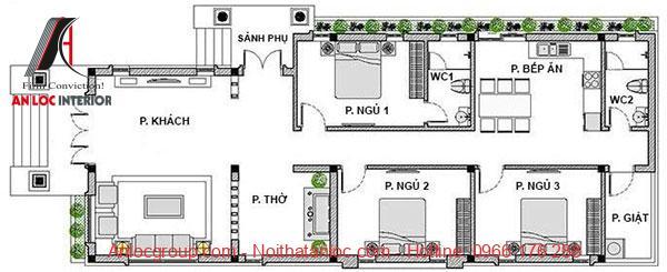 Bản vẽ nhà cấp 4 3 phòng ngủ 1 phòng thờ mái thái đẹp