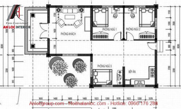Bản vẽ thiết kế nhà cấp 4 chữ L 3 phòng ngủ