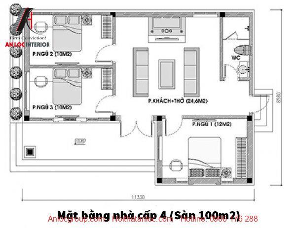 bản vẽ nhà cấp 4 có 3 phòng ngủ
