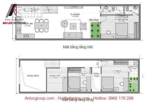 Nhà có gác lửng mái bằng và 3 phòng ngủ đẹp
