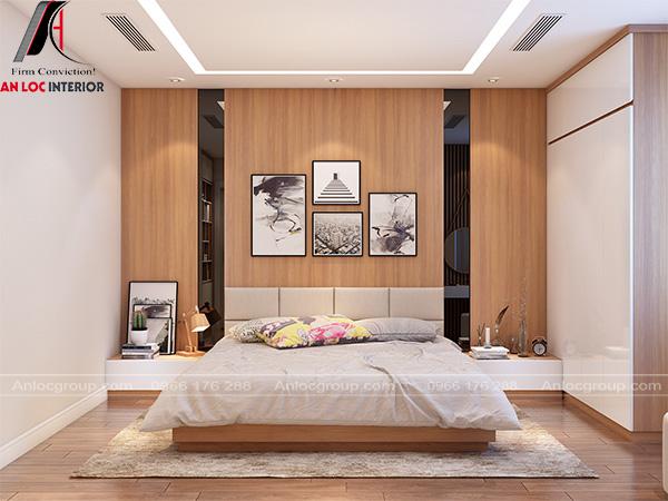 Phòng ngủ sử dụng vách ốp tường bằng gỗ căn bằng màu sắc đồ nội thất trong phòng
