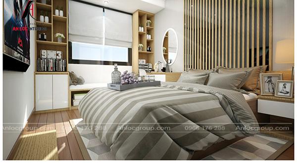 Phòng ngủ trong chung cư NHS Phương Canh NTHome đơn giản, cuốn hút từng chi tiết