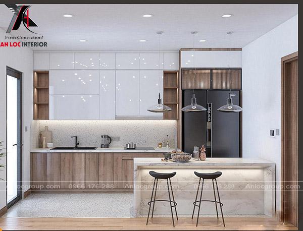 Thiết kế thi công nội thất Hà Nội với phòng bếp tiện nghi