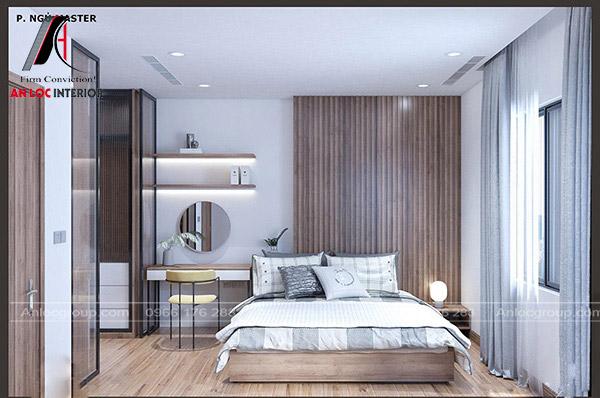 Nội thất phòng ngủ với các vật dụng cần thiết như bàn phần, tủ đựng đồ