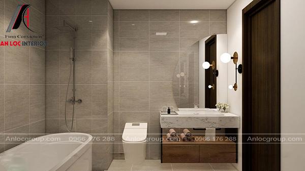 Nội thất phòng tắm bố trí gọn gàng, ngăn nắp
