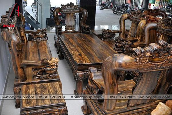 Bộ bàn ghế gỗ Mun sọc
