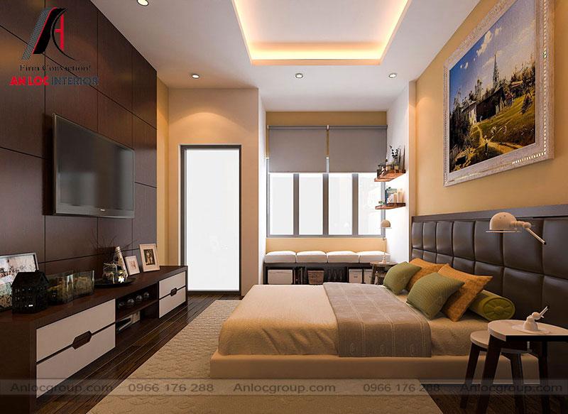Phòng ngủ ông bà sử dụng tone màu trầm ấm với màu sắc chủ đạo là nâu và vàng