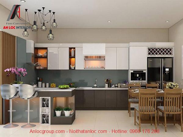 Đường nét dứt khoát, mạch lạc tạo nên không gian tươm tất cho phòng bếp