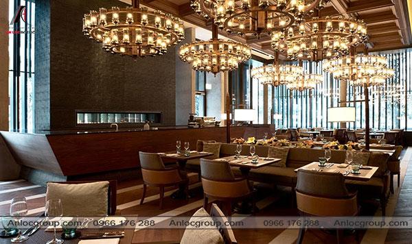 Mẫu 28 - Nhà hàng phong cách Châu Âu thường được đặc trưng bởi hệ thống ánh sáng độc đáo