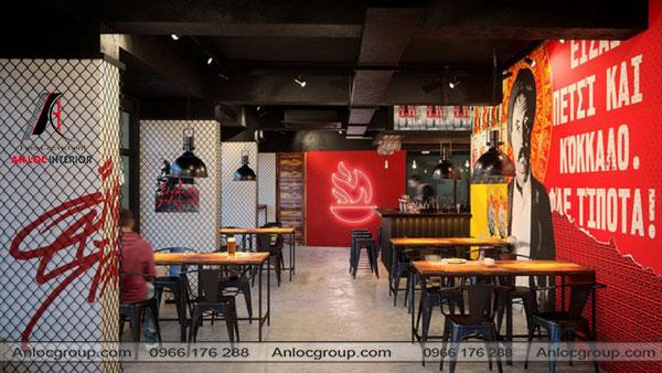 Mẫu 4 - Nhà hàng hàn quốc sử dụng tone màu đỏ đen chủ đạo kết hợp với những bức tường kẻ caro ấn tượng