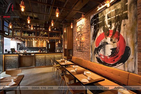 Mẫu 6 - Thiết kế nhà hàng Hàn Quốc đơn giản, mộc mạc