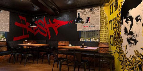 Mẫu 9 - Nhà hàng độc đáo với màu sắc đa dạng và không gian trầm tối