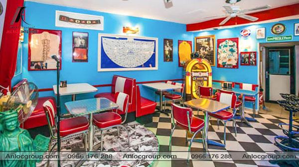 Mẫu 49 - Nhà hàng kết hợp giữa Vintage và Retro