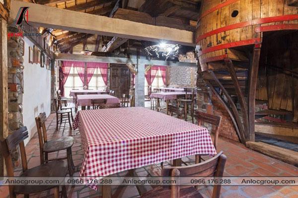 Mẫu 51 - Thiết kế nội thất nhà hàng phong cách đồng quê