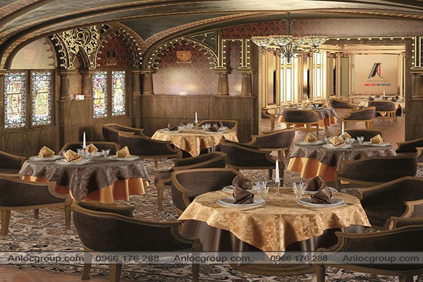 Mẫu 34 - Thiết kế nội thất nhà hàng cổ điển đẹp