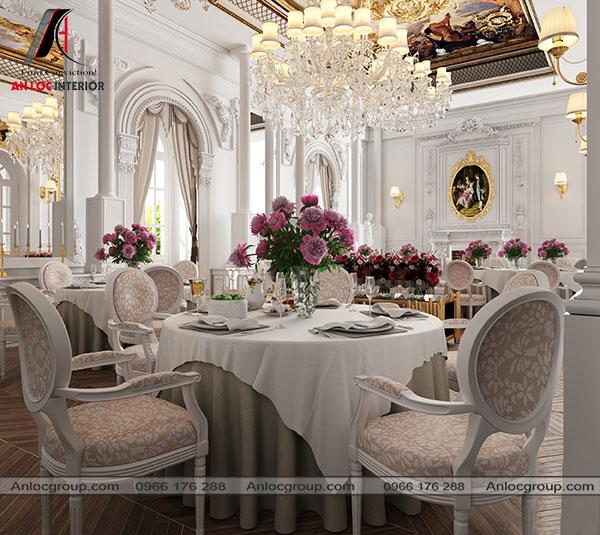 Mẫu 35 - Nhà hàng phong cách cổ điển đặc trưng bởi những chi tiết cầu kỳ, tráng lệ và nội thất cao cấp