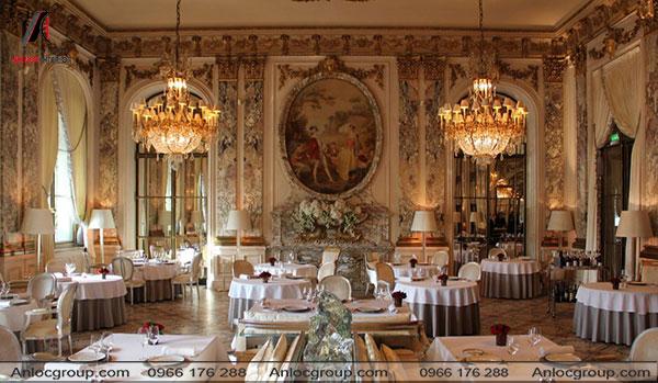 Mẫu 39 - Nhà hàng cổ điển ấn tượng bởi những họa tiết cầu kỳ mang đến cho thực khách những trải nghiệm cao cấp