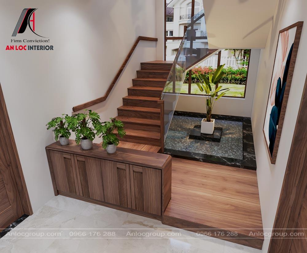 Thiết kế cầu thang gỗ tự nhiên nhà phố tại Thái Nguyên