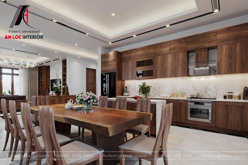Thiết kế nội thất phòng bếp nhà phố tại Thái Nguyên