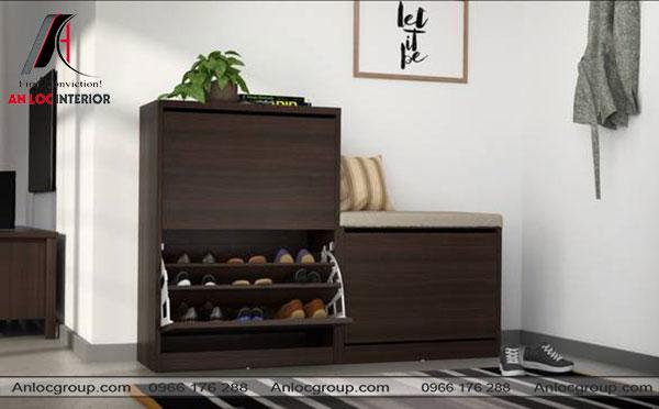 Mẫu 19 - Tủ giày gỗ công nghiệp màu nâu đen sang trọng