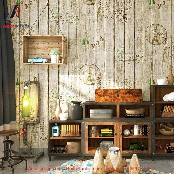 Giấy dán tường được trang trí theo họa tiết vintage