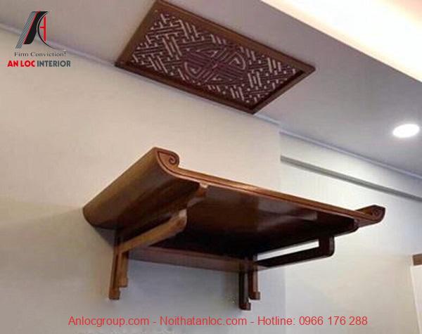 Mẫu bàn thờ gỗ xoan đào vô cùng mộc mạc và giản dị