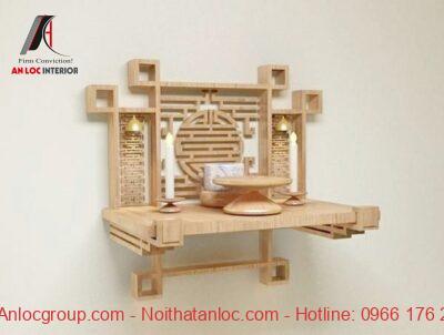 Mẫu bàn thờ chung cư treo tường được làm bằng gỗ bền bỉ, màu sắc trang nhã và mới mẻ