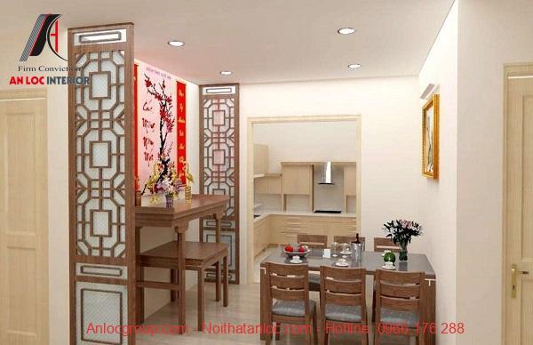 Mẫu tủ thờ nhà chung cư có vách ngăn gỗ tự nhiên, giải pháp mang tới sự hoàn mỹ cho không gian rộng hơn