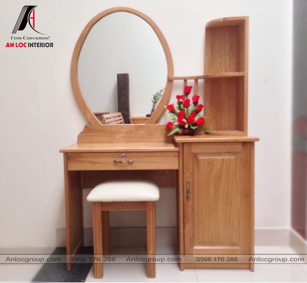 Mẫu 2 - Bàn phấn hiện đại kết hợp với 1 tủ, kệ từ chất liệu gỗ Sồi tự nhiên