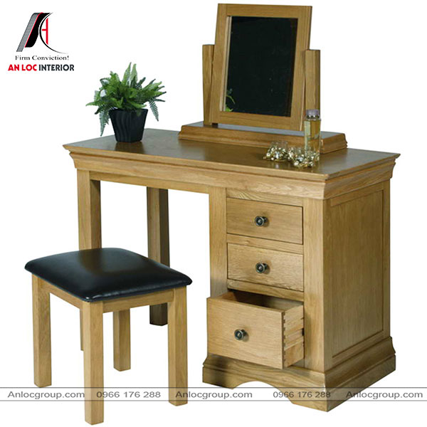 Mẫu 5 - Bàn ghế trang điểm đẹp, gọn gàng từ gỗ Sồi