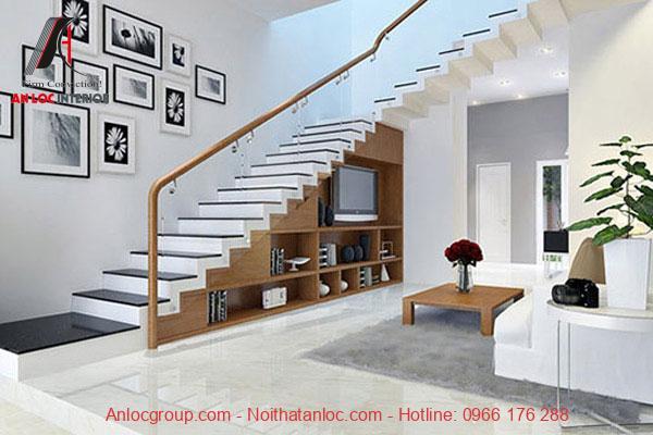 Mẫu 7 - Kệ tivi dưới chân cầu thang phòng khách