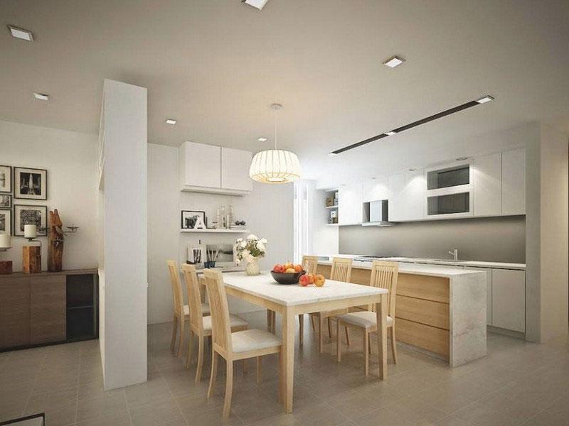 Chú ý cân đối màu sắc và ánh sáng trong không gian phòng bếp