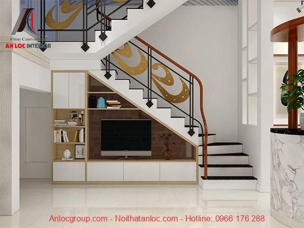 Mẫu 13 - Kệ tivi kết hợp kệ trang trí dưới cầu thang