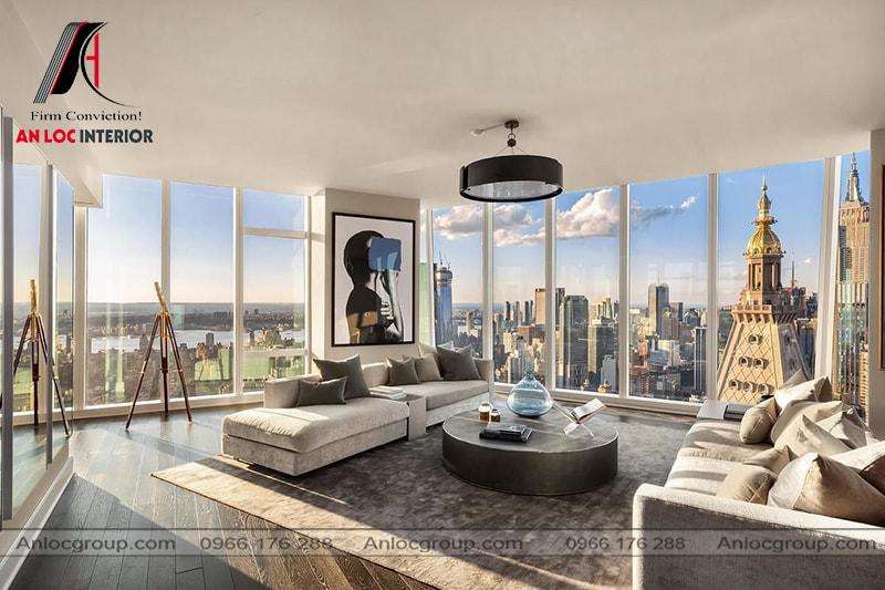 Mẫu 22 - Phòng khách chung cư cao cấp có tầm nhìn rộng