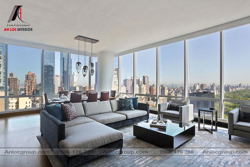 Mẫu 24 - Căn hộ chung cư cao cấp với phòng khách theo phong cách hiện đại