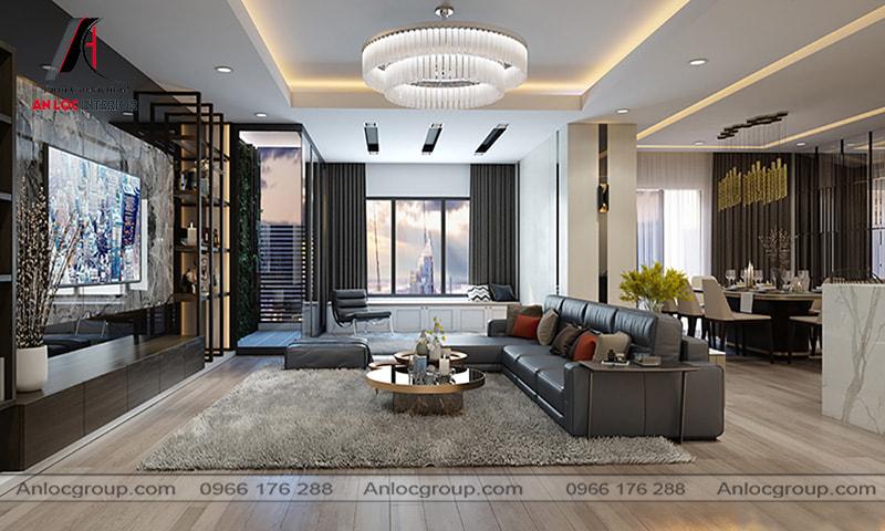 Mẫu 25 - Diện tích rộng rãi giúp việc thiết kế phòng khách chung cư cao cấp trở nên dễ dàng