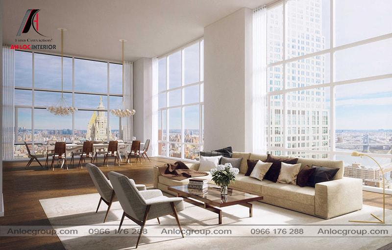 Mẫu 26 - Thiết kế phòng khách chung cư cao cấp với hệ thống cửa kính để mang đến tầm nhìn rộng mở