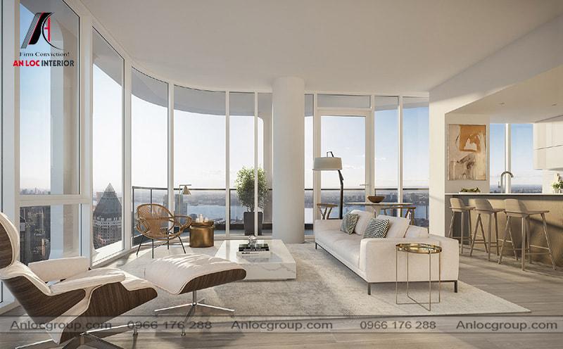 Mẫu 27 - Bàn ghế phòng khách chung cư cao cấp màu trắng kết hợp với tầm nhìn đẹp ra thành phố