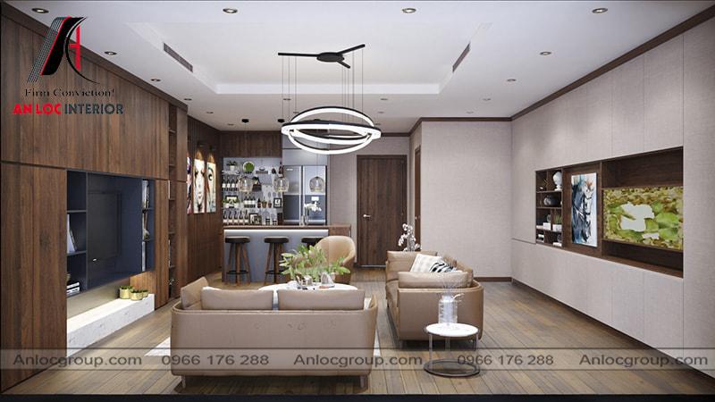 Mẫu 16 - Nội thất phòng khách chung cư hiện đại với điểm nhấn là màu nâu của gỗ